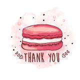 Macaron. Hand drawn illustration. Pink macaroon with a thank you message Stock Images