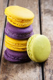 Macaron Macarons Wooden Table Colorful Stacked Stock Image
