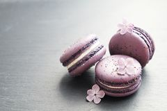Macaron or macaroon french coockie on graphite background with purple flowers, pastel colors. Flat lay. Food concept. Tasty colorful macaroons in marble Stock Photos