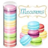 Macaron no recipiente plástico Foto de Stock Royalty Free