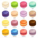 Macaron ou grupo do ícone do bolinho de amêndoa Fotos de Stock