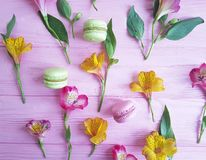 Macaron pattern on a pink wooden background alstroemeria flower. Macaron pattern on a pink wooden background, alstroemeria flower Royalty Free Stock Photo