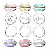 Macaron réaliste figé de croquis Bonbons faits main pour la conception confiserie Image libre de droits