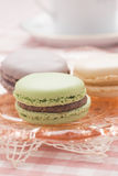 Macaron served at afternoon tea Royalty Free Stock Images