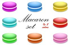 Macaron set in 8 colors. Royalty Free Stock Images