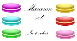 Macaron set in 6 colors. royalty free stock photos