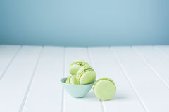 Macaron sweet biscuit, green and blue colours Stock Images