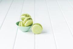 Macaron sweet biscuit, green colours Stock Image