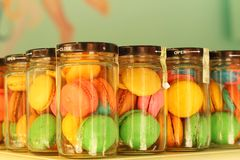 Macaron sweets in a bottle for sale Stock Photography