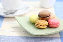 Macaron with tea cup Royalty Free Stock Images