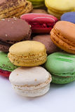Macaron,white background, Candy. Close up shot of various kind of fresh macaroon arrangement Stock Image