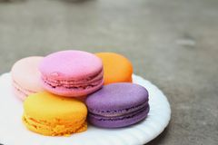 Macaron in white plates on the background of the cement. Royalty Free Stock Photography