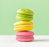 Macaron on white wooden table Royalty Free Stock Photography