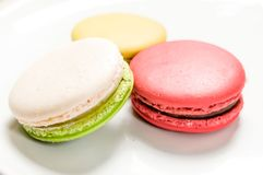 Macaron. White, yellow and red Macaron dessert Royalty Free Stock Images