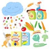 macaroni τροφίμων ανασκόπησης μωρών ακατέργαστο λευκό απεικόνιση αποθεμάτων