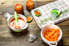 macaroni τροφίμων ανασκόπησης μωρών ακατέργαστο λευκό Καρότο πουρέ μωρών με μια θηλή Στοκ εικόνες με δικαίωμα ελεύθερης χρήσης