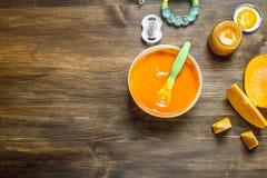 macaroni τροφίμων ανασκόπησης μωρών ακατέργαστο λευκό Πουρές μωρών από τη φρέσκια κολοκύθα Στοκ Εικόνες