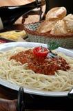 Macaroni. Pasta with pesto sauce food gourmet royalty free stock photo