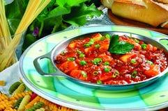 Macaroni. Pasta with pesto sauce food gourmet stock photo