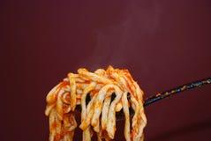 Macaroni al Ferro. Freshly made macaroni al ferro on the spoon Royalty Free Stock Photos