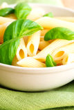 Macaroni and basil on table cloth close up Royalty Free Stock Photos