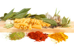 Macaroni with bay leaves and spice Royalty Free Stock Photos