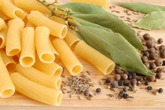 Macaroni with bay leaves and spice Royalty Free Stock Images