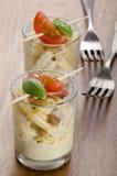 Macaroni carbonara in a shot glass Royalty Free Stock Images
