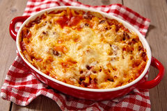 Macaroni casserole with ground beef Stock Images