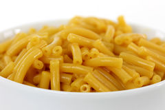 Macaroni and Cheese. Closeup of Macaroni and Cheese in a white bowl stock images