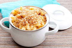 Macaroni with cheese and breadcrumb topping Royalty Free Stock Images