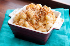 Macaroni with cheese and breadcrumb topping Royalty Free Stock Image