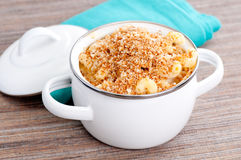 Macaroni with cheese and breadcrumb topping Royalty Free Stock Photo