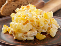 Macaroni with cheese, chicken and mushrooms Stock Image