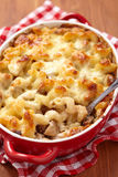 Macaroni with cheese, chicken and mushrooms Stock Photography
