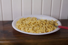 Macaroni and Cheese. Close up of a large plate of baked macaroni and cheese Stock Image