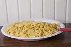 Macaroni and Cheese. Close up of a large plate of baked macaroni and cheese Royalty Free Stock Photography