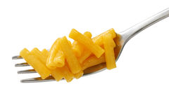 Macaroni and cheese on a fork Stock Photography