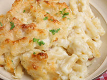 Macaroni Cheese or Gratin. In beige bowl Stock Photography