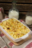 Macaroni and cheese gratin with feta Stock Photography