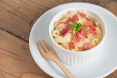 Macaroni and cheese with ham. Royalty Free Stock Photography