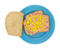 Macaroni cheese loaf sandwich with mustard Royalty Free Stock Photos