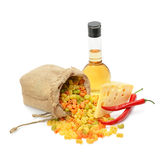 Macaroni, cheese and olive oil Royalty Free Stock Photos