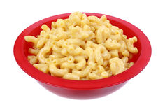 Macaroni Cheese Red Bowl Angle Stock Photos