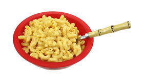 Macaroni Cheese Red Bowl Spoon Stock Images