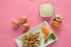 Macaroni coated with egg Royalty Free Stock Images
