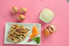 Macaroni coated with egg Stock Photography