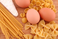 Macaroni, eggs and flour Royalty Free Stock Image