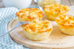 Macaroni en kaas als kleine pastei wordt gebakken die royalty-vrije stock afbeelding
