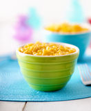 Macaroni en kaas - jonge geitjesvoedsel stock fotografie